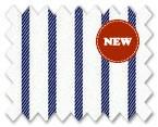 Wrinkle Free Cotton Navy Stripe