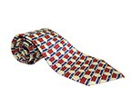 Red/Blue/Yellow Printed Silk Tie
