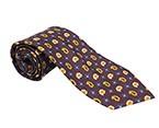 Purple/Yellow/Blue Printed Silk Tie