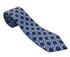 Dark Blue/Blue Printed Silk Tie